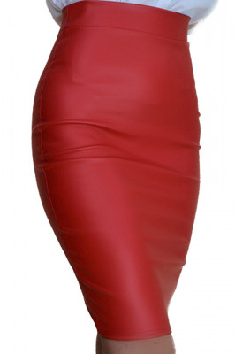 Fusta conica Royal din piele ecologica, rosie
