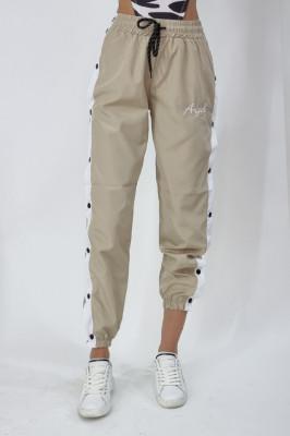 Pantaloni din fas Velus cu capse pe laterale