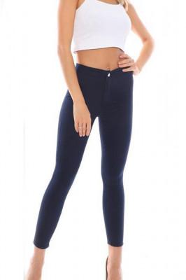 Pantaloni elastici talie medie Tina bleumarin