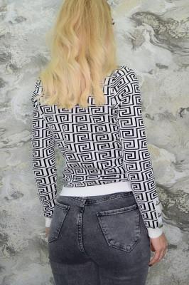 Pulover cu imprimeu modern, alb