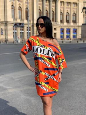 Rochie casuala de zi Lolita portocaliu cu imprimeu trendy