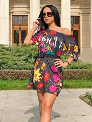 Rochie casuala de zi Vogue neagra cu imprimeu floral