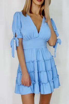 Rochie cu volane MySecret albastru deschis