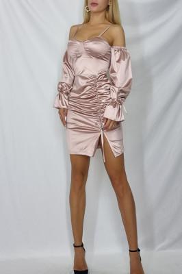 Rochie mini Roxana din satin Roz pal