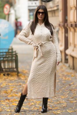 Rochie tricotata Melina, cu gluga si cordon, crem
