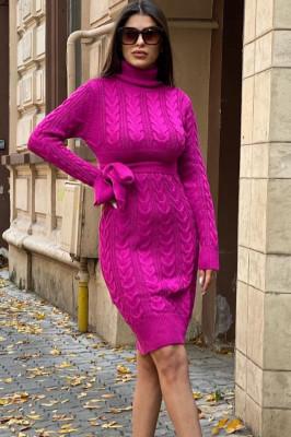 Rochie tricotata Sara, cu guler si maneci lungi, fucsia