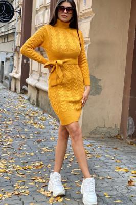 Rochie tricotata Sara, cu guler si maneci lungi, mustar
