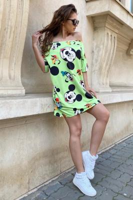 Rochie tricou lung Minnie verde