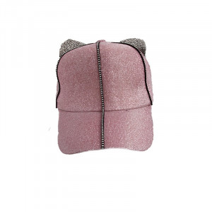 Sapca moderna roz stralucitor cu urechiuse, fete, ajustabila