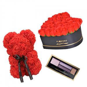 Set Cadou Aranjament floral cutie inima neagra cu trandafiri rosii de sapun, Ursulet floral Rosu 25cm si Paleta fard