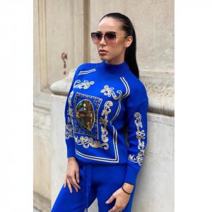 Trening tricotat cu model deosebit Saint Louis, albastru