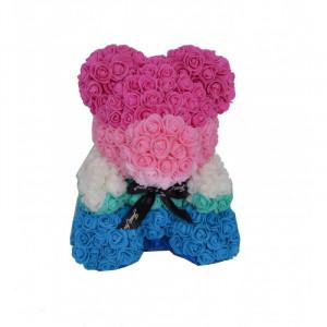 Ursulet Floral Teddy Bear multicolor din Trandafiri de spuma, 35 cm, in cutie cadou