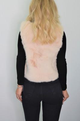 Vesta din blana cu insertii de piele ecologica crem