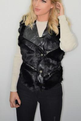 Vesta din blana cu insertii de piele ecologica neagra