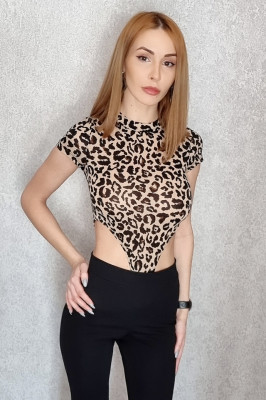 Body animal print Naomi cu maneca scurta