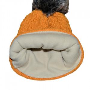 Caciula tricotata cu captuseala, mustar