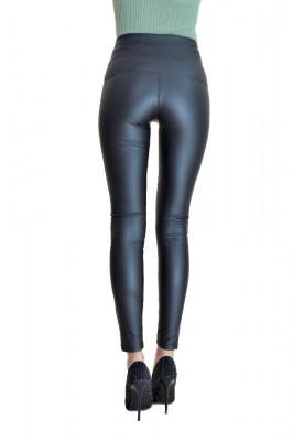 Colanti Jolie din piele cu talie inalta tip corset, negri