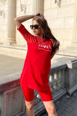 Compleu Loves tricou si colanti scurti