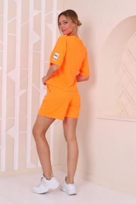 Compleu Mirra tricou si pantaloni scurti orange