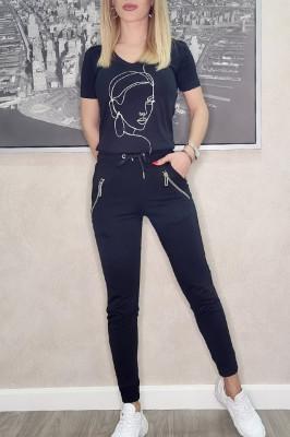 Compleu Ramya pantaloni si tricou negru