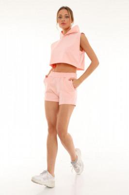 Compleu sport June tricou si pantaloni scurti roz deschis