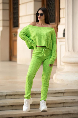 Compleu tricot Gyna, Verde, Marime universala S/M