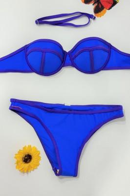 Costum de baie doua piese Sunshine albastru neon