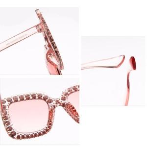 Ochelari de soare Luxury Pink cu pietricele aplicate