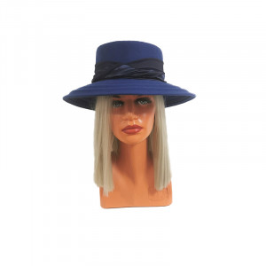 Palarie dama Luxe albastra, cu bor lat si banda