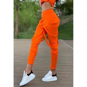 Pantaloni dama orange cu fermoar si bretele