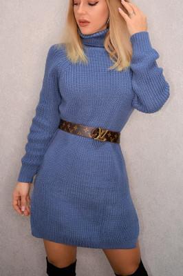 Pulover lung tricotat Desire, albastru