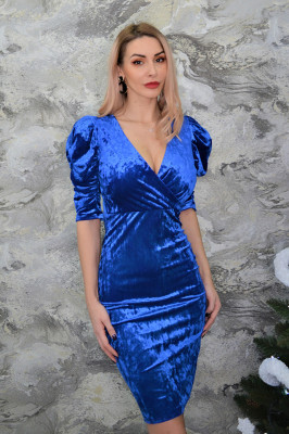 Rochie eleganta, umeri bufanti, Queen, albastra