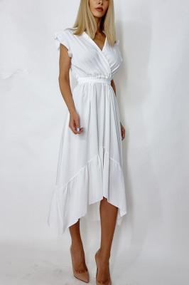 Rochie midi cu cordon in talie Bianca alb