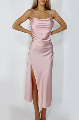 Rochie Noemi din satin despicata roz