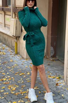 Rochie tricotata Sara, cu guler si maneci lungi, verde