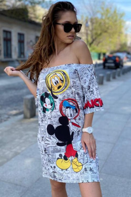 Rochie tricou lung Disney alb