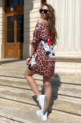 Rochie tricou lung Minnie animal print