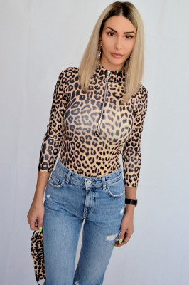 Body helanca cu fermoar Leopard + masca