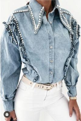 Camasa denim Renata accesorizata cu perle