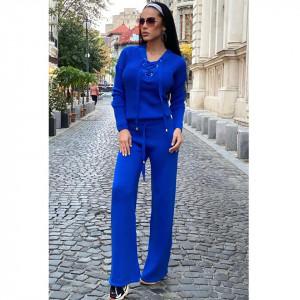 Compleu albastru dama tricotat cu bluza petrecuta si pantalon evazat