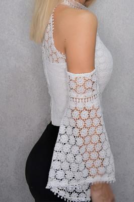Crop top alb elegant din dantela
