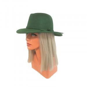 Palarie Cowboy, din lana si bentita cu funda, verde