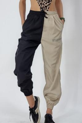 Pantaloni din fas in doua culori Elvis negru-crem