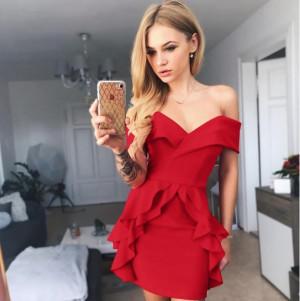 Rochie de petrecere cu volanase Nadya rosie