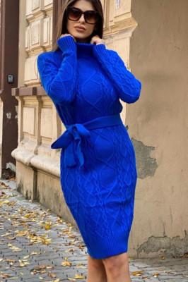 Rochie tricotata Sara, cu guler si maneci lungi, albastra