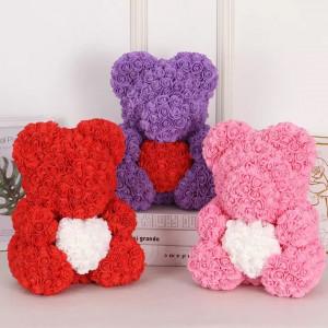 Ursulet Rose Bear din Trandafiri de spuma cu inima, in cutie cadou cu funda, 40 cm