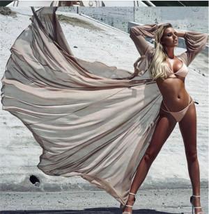 Cardigan de plaja Crem din voal cu maneci
