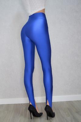 Colanti albastri luciosi cu banda elastica sub talpa si dunga pe mijloc