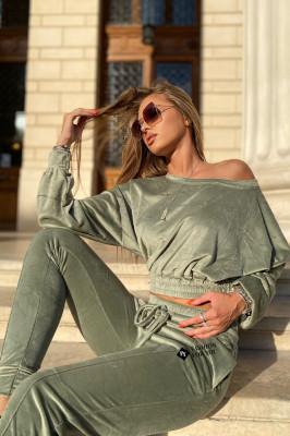 Compleu catifea Anna pantaloni si bluza asimetrica, Olive, Marime universala S/M