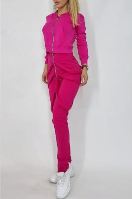 Compleu dama Cezara hanorac si pantaloni cu bretele roz